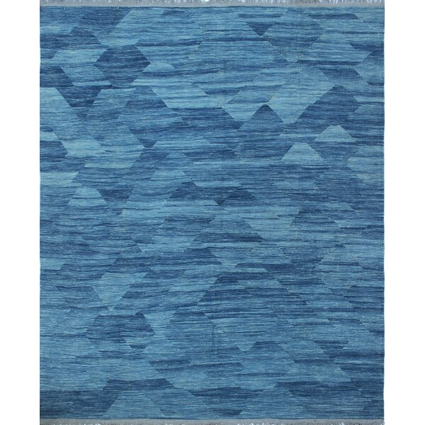 Ackworth Kilim Hand Woven 100% Wool Blue Area Rug by Bungalow Rose